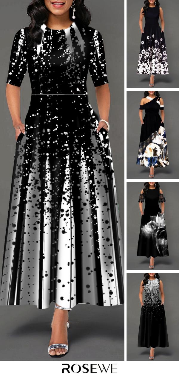Hot Sale & Half Sleeve Round Neck Printed Maxi Dress #blackmaxidress