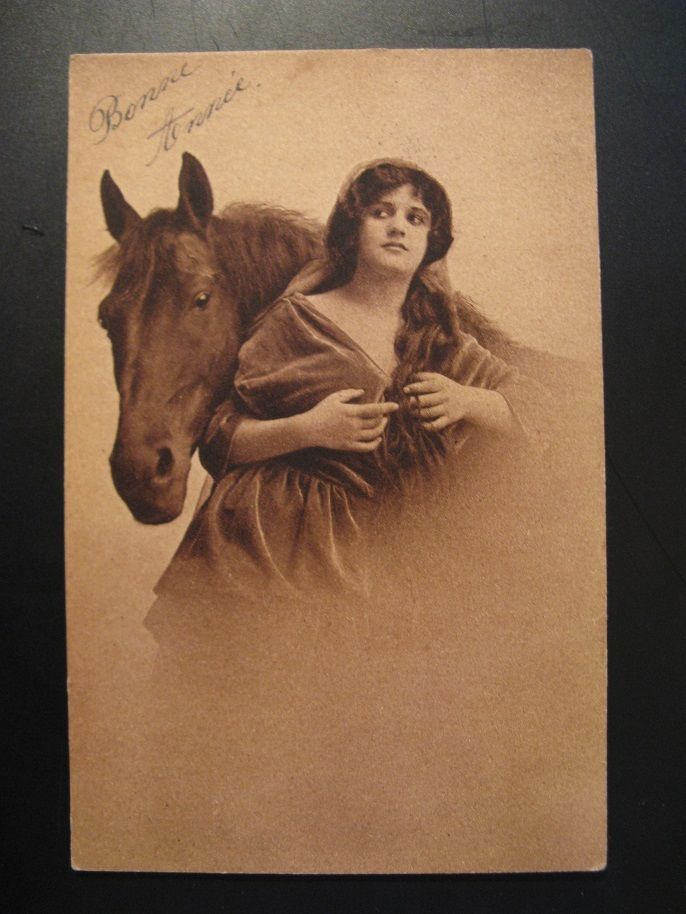 Antique Brown MMB Postcard, Woman with horse...Bonne Année