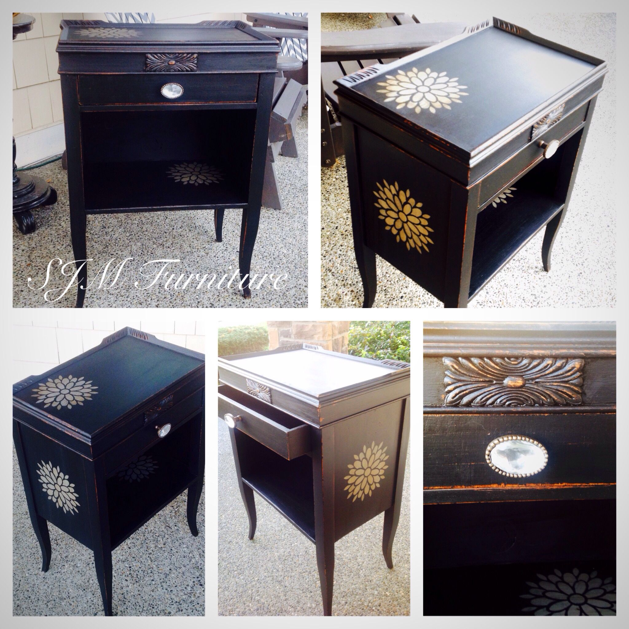 Antique Side Table Painted In Black Chalk Paint Distressed And Antiqued In Dark Wax By Sjm Furniture Redo Furniture Refinishing Furniture Furniture Makeover