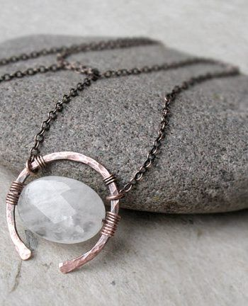For Sale: Rose Quartz Necklace Universal Love Stone Copper Or... #quartznecklace