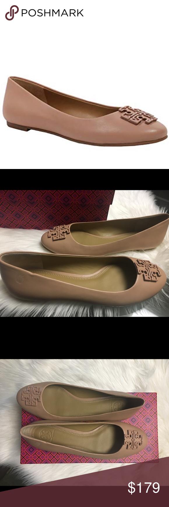 a3244c714 TORY BURCH Melinda Leather Flats Light Makeup NEW TORY BURCH Melinda  Leather Flats Shoes Ballerina Light