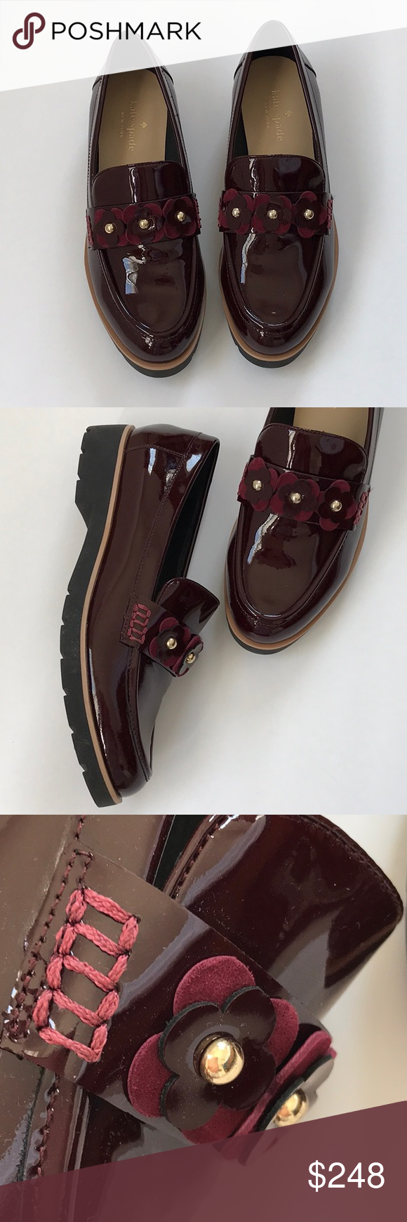 3732fe86a2c1 💼Kate Spade Karisa Bordeaux Loafer nib sz 7.5 Patent leather. Slip on.  Black