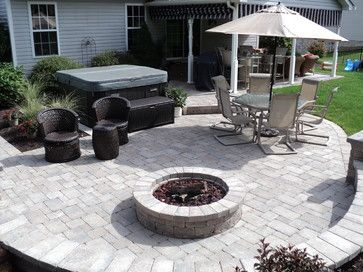 Hot Tub Patio With Fire Pit Area Hot Tub Patio Hot Tub Landscaping Fire Pit Landscaping