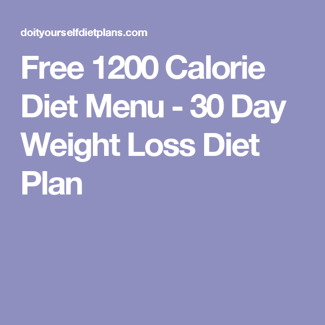Menu planner for weight loss