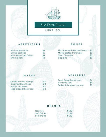 White Blue Seafood Food and Drink Menu Sushi Online Menu Inspo