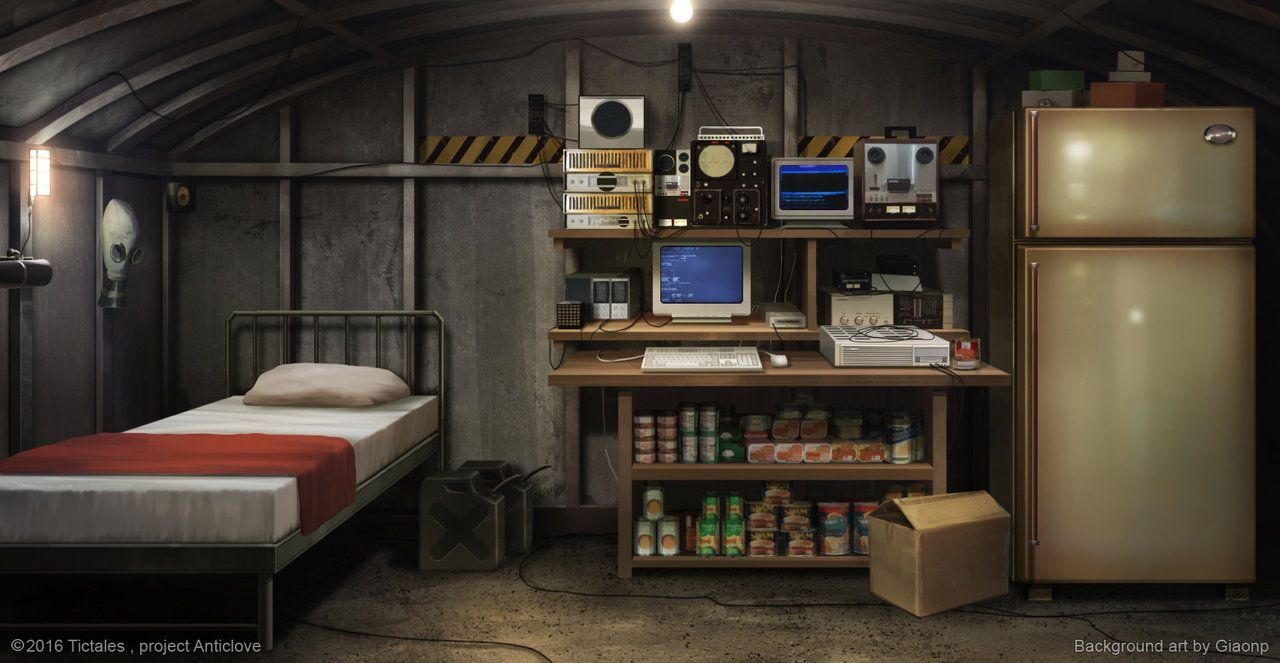 Inside the bunker Visual Novel Background by giaonp