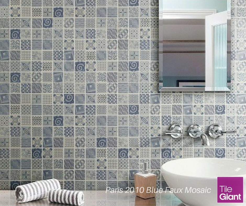 NEW: We love patchwork! From quilts to cushions, patchwork is the look of the season. These robust porcelain tiles have a patchwork blue glaze finish and cost just £47.20 per m²