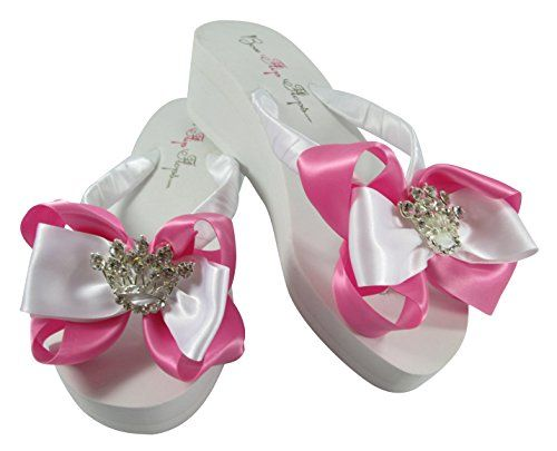 Crown Flip Flops Hot Pink And White Wedding 2 Inch Wedge Heel Sandals Read