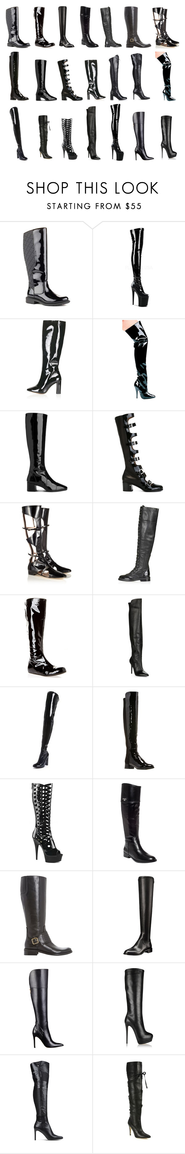 """""""Leather boots - how high do you like them?"""" by leatherboy ❤ liked on Polyvore featuring Cougar, Topshop, Whistles, Laurence Dacade, Carven, Lanvin, Charles by Charles David, Carvela, Stuart Weitzman and Pleaser"""