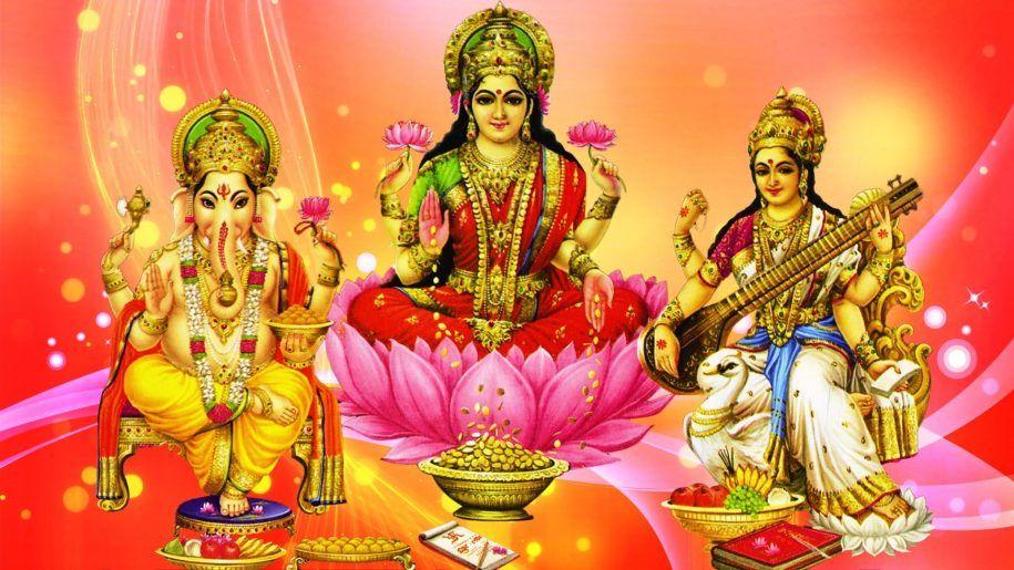 Ganesh Lakshmi And Saraswati Hd Wallpaper For Pc Tablet And Mobile Download 1920 1080 Hd Wallpapers For Pc Lakshmi Images Wallpaper Pc