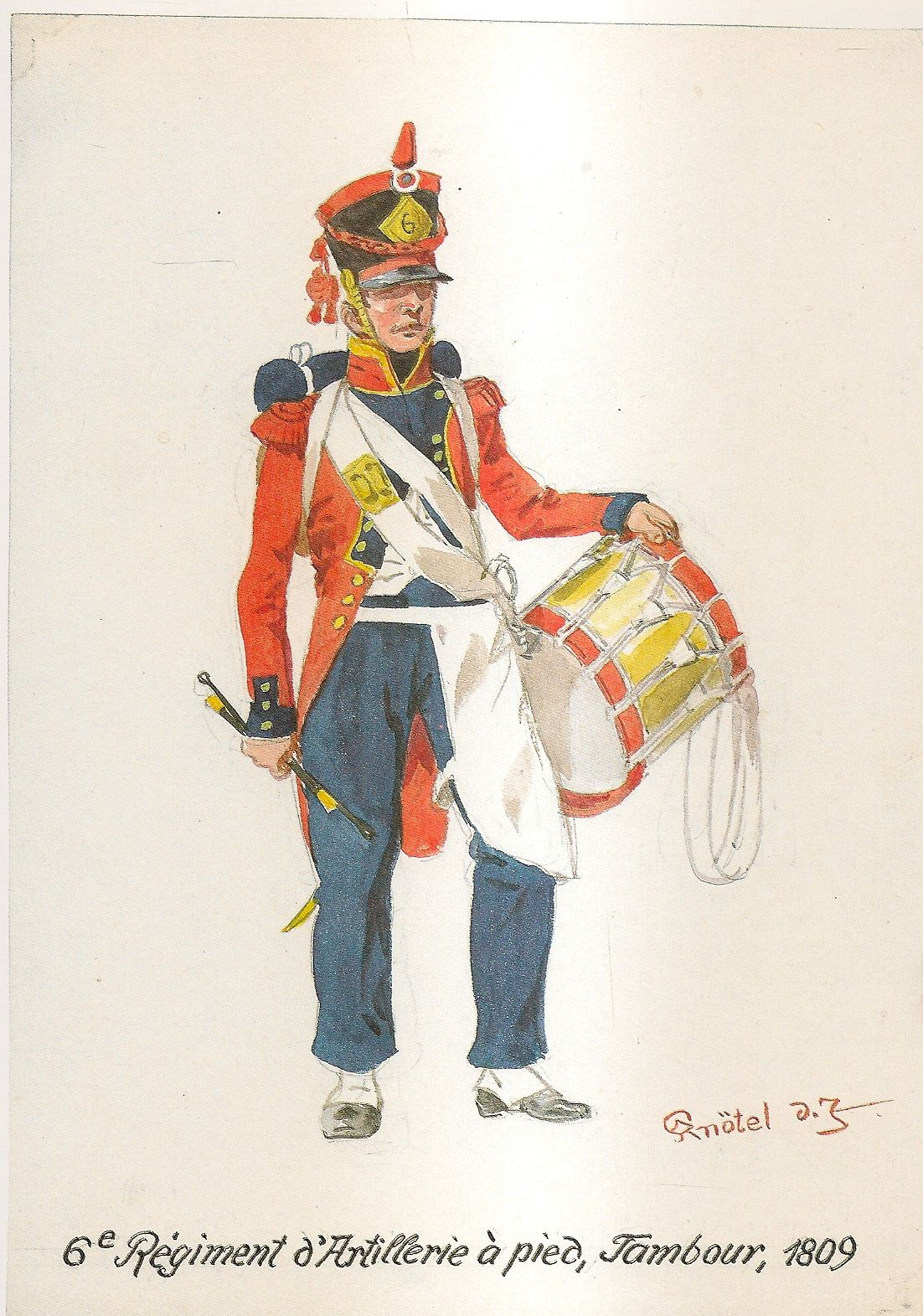 French; 6th Regiment of Foot Artillery, Drummer 1809 by H.Knotel