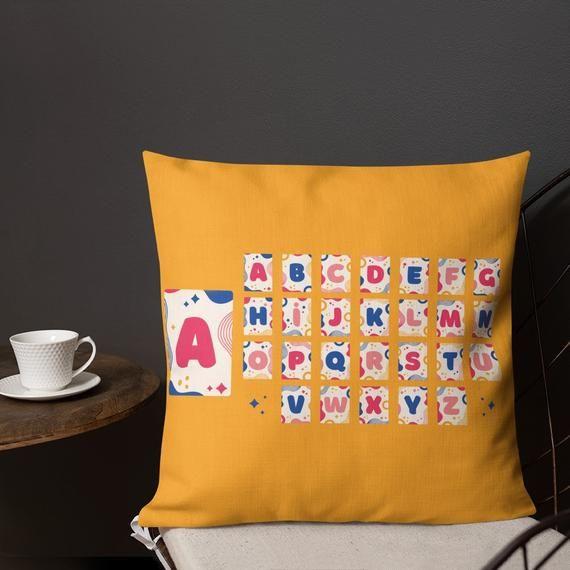 Alphabet Teacher Throw Pillow, Decorative Pillow, Unique Gift For Couple, Housewarming, Wedding Gift