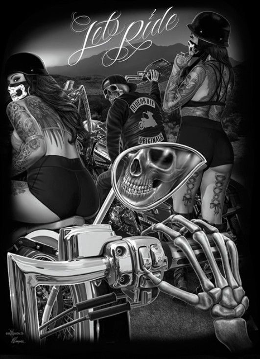Let's Ride- D.G.A. | Lowrider art, Motorcycle art painting ...