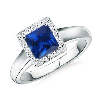 Angara Floral Metal Border Blue Sapphire and Diamond Vintage Ring 8WCNRsf4H
