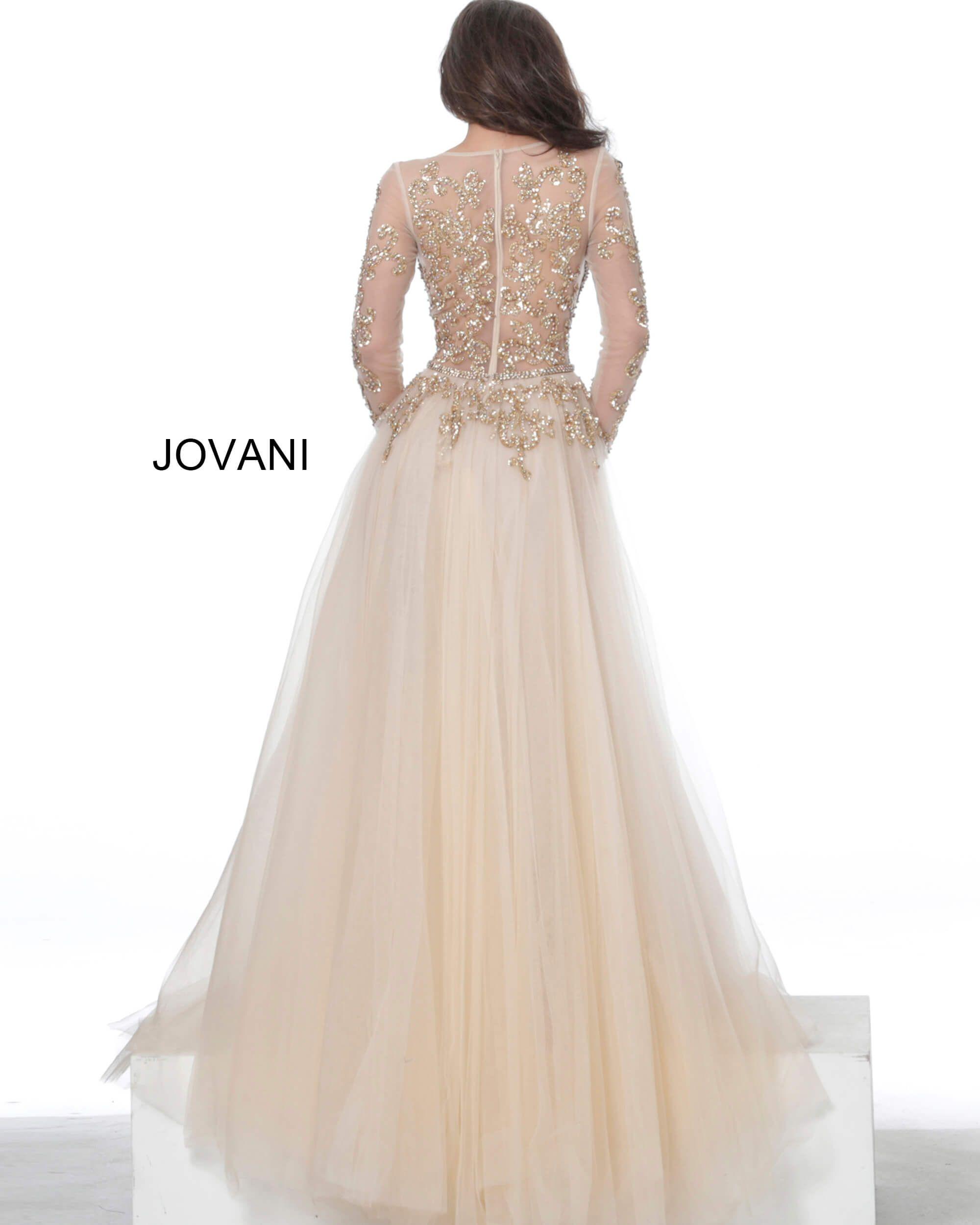 Jovani Dress 00638 Champagne Sheer Long Sleeve Ballgo In 2021 Sparkle Wedding Dress Wedding Dress Long Sleeve Bodice Wedding Dress [ 2500 x 2000 Pixel ]