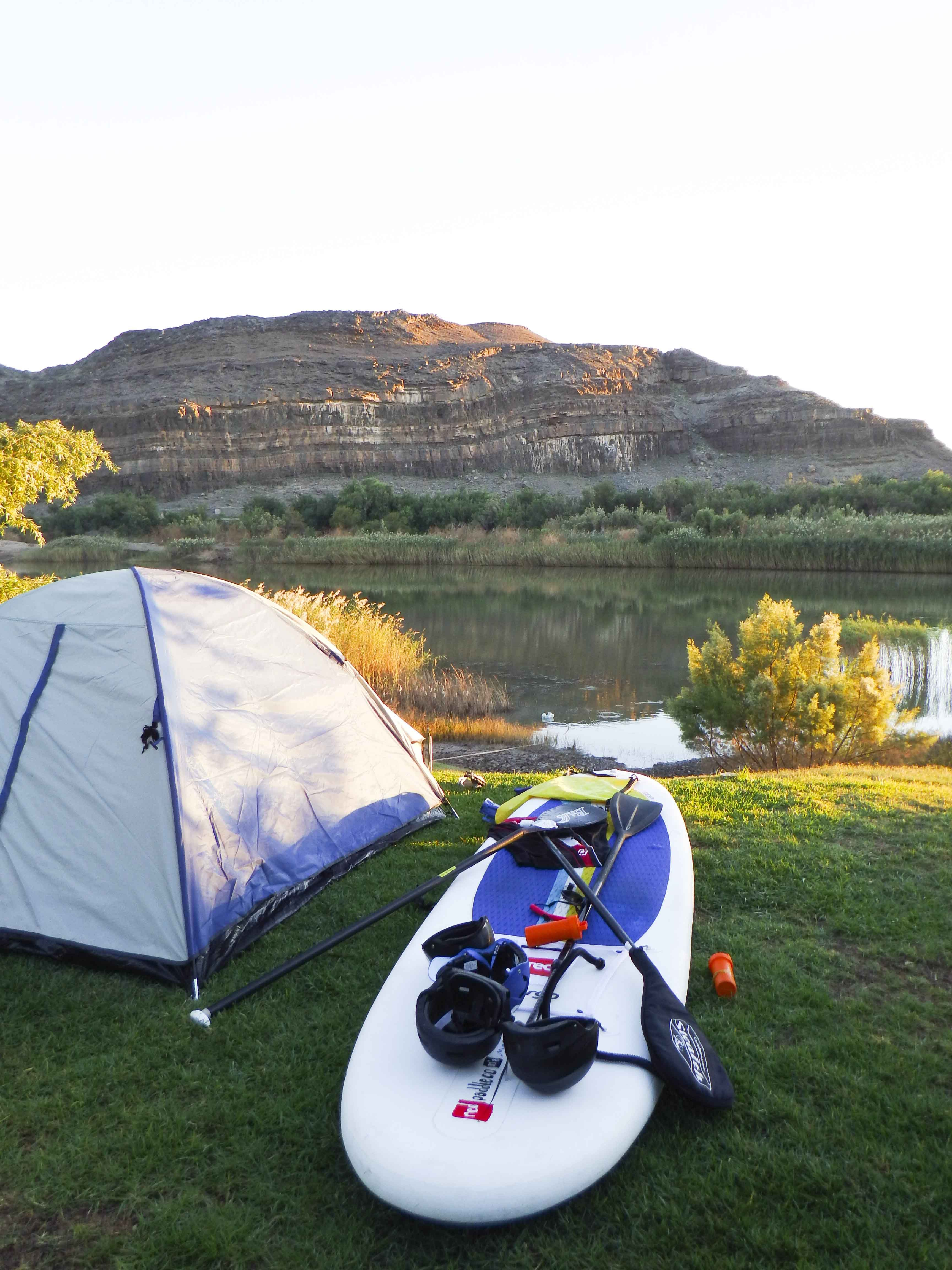 Camping on the banks of the Orange River.