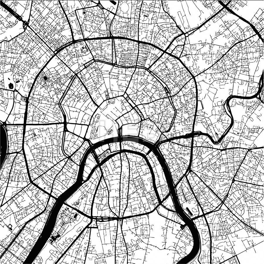 Download from 099 Moscow Capital of Russia Monochrome Map Artprint Vector Outline Version ready for color change Separated On White