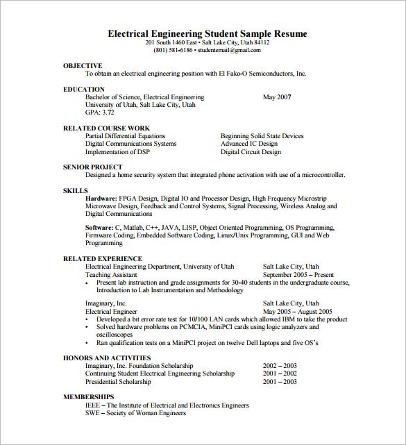 Resume Template for Fresher u2013 10+ Free Word, Excel, PDF Format - electrical engineering resume sample