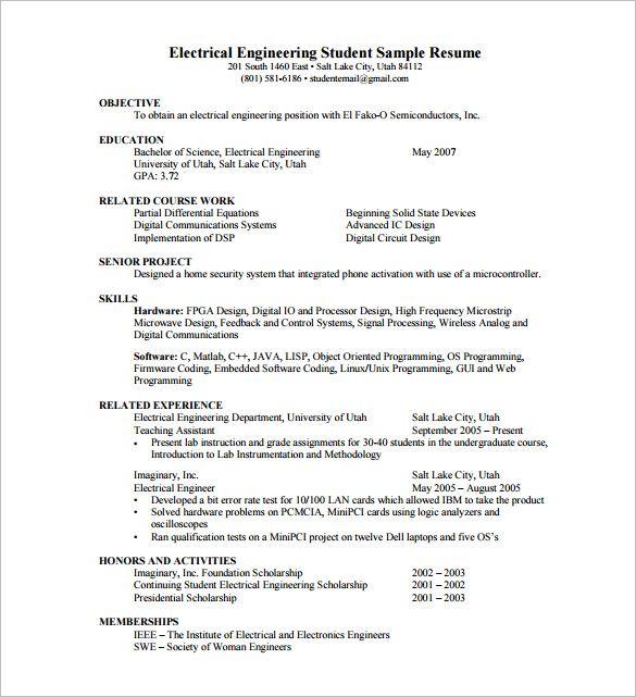 free resume samples for internship students pdf