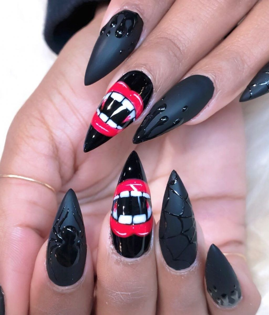 Spooky Black Spiderweb Halloween Press On Nails # ...