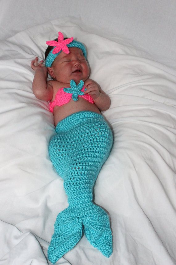 PATTERN Crochet Baby Mermaid Tail with by StitchinPrincess on Etsy ...