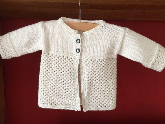 Gestrickte Babyjacke Gr 5056 Weiße Strickjacke Für Babys