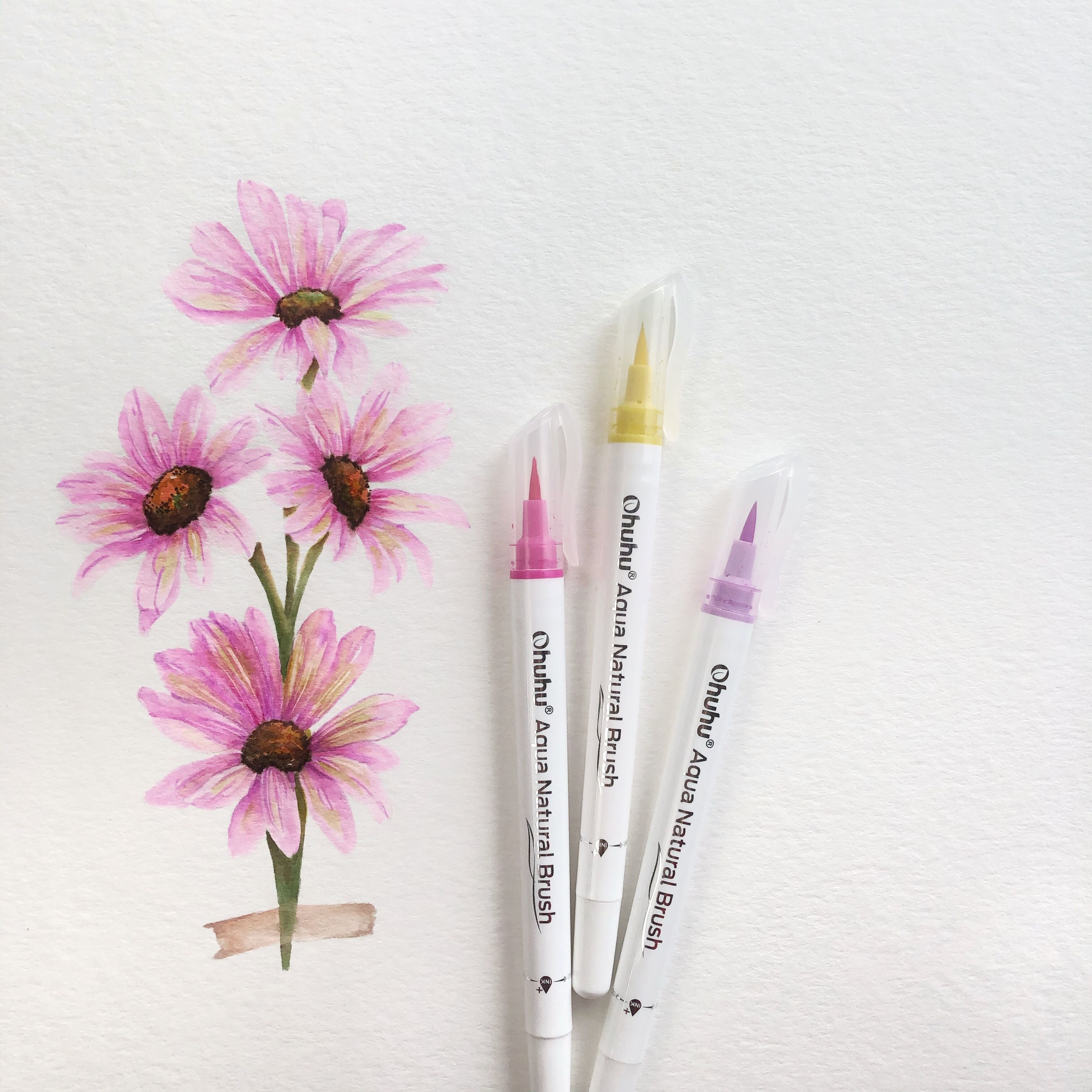 Pink Spring Flowers Using Ohuhu Brush Pens Illustration Floral