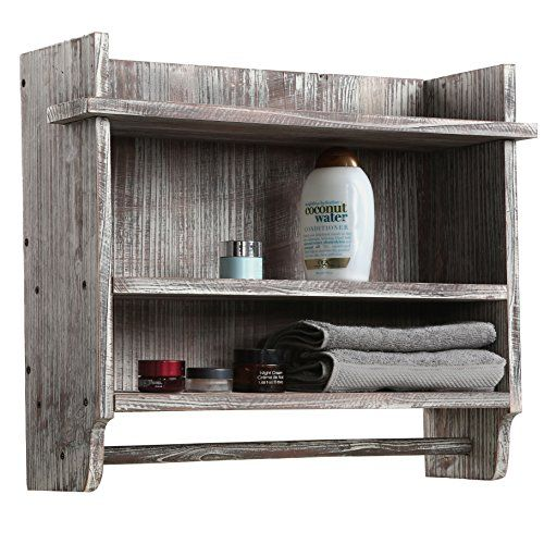 abb2ecc41f8 Wall Mounted Torched Wood Bathroom Organizer Rack with 3 Shelves and Hanging  Towel Bar