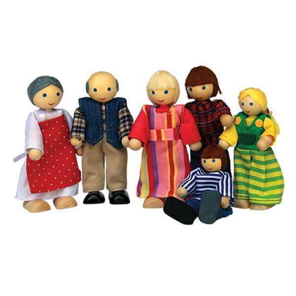 Familie de jong 6 delig houten poppen familie de jong for Poppenhuis poppetjes