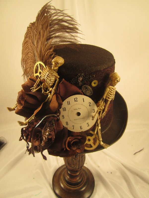 07be4acbc0a72 Steampunk Halloween Top Hat Brown with Skeletons
