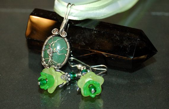 Tree of Life: Aventurine Pendant wrapped in Sterling Silver with matching earrings. Handmade by Tina Louise.