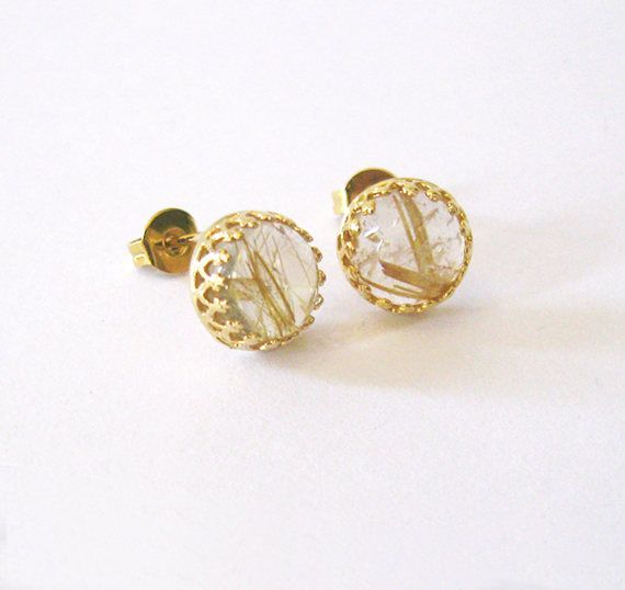 Gold Rutilated Quartz Gemstone Studs Gold by SendingLoveGallery