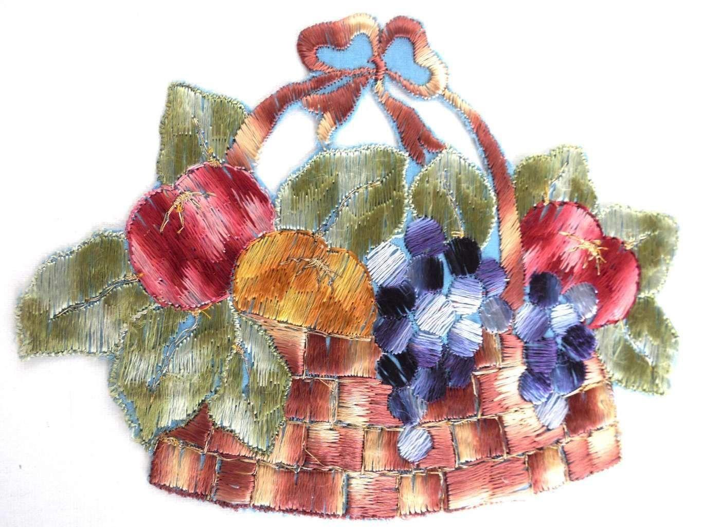 Fruit patch fruit basket applique s vintage embroidered