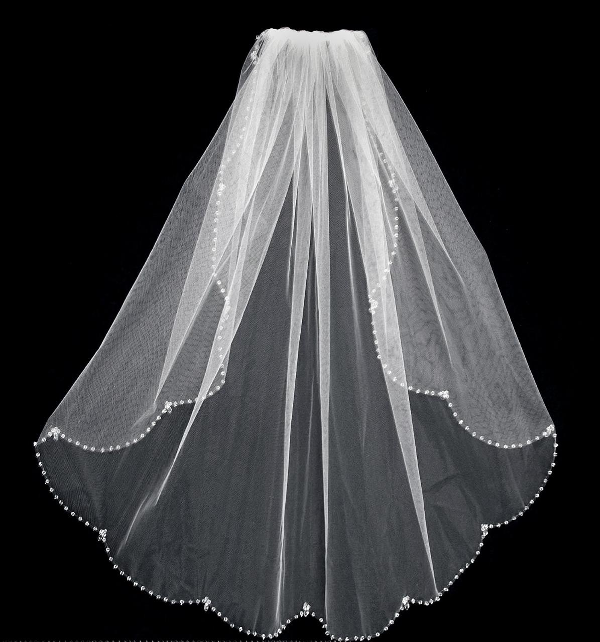 32 Long Crystal Beaded Edge Wedding Veil C469 Affordable Elegance Bridal Beaded Edge Wedding Veil Wedding Veil Wedding Veils Lace
