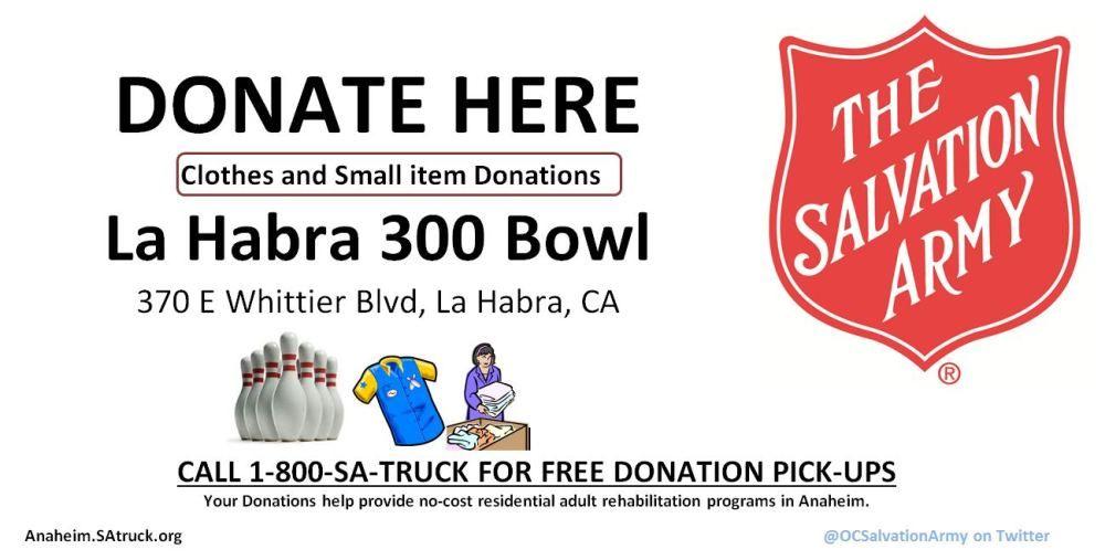 La Habra 300 Bowl Hosting Clothing Donation Box Supporting The Salvation Army Salvation Army Army Supportive