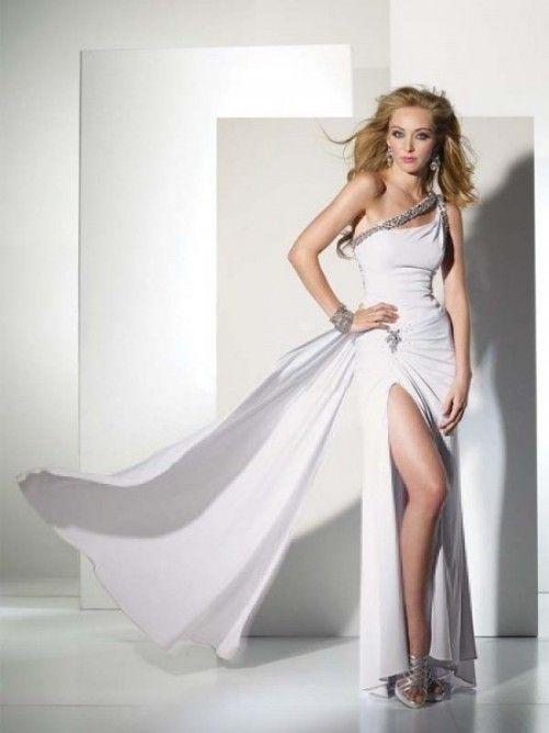 Etui-Kleid Asymmetrisch Bodenlänge Chiffon Weiß mit Perlen ...