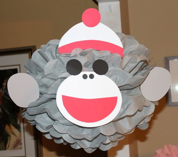 sock monkey monkey inspired pom pom kit baby shower first birthday