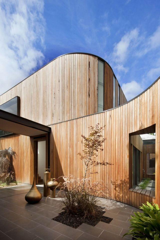 Neubau Moderne Architektur Offener Bauplan Holz Verkleidet