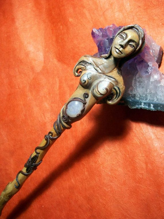 Goddess Rainbow Moonstone Magic Wand by LunaSolare on Etsy