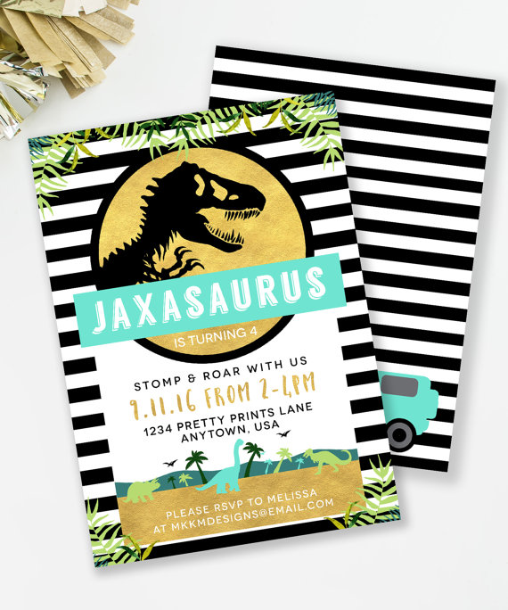 Jurassic Birthday Invitation Dinosaur Party Boys TREX Invite Park Inspired In