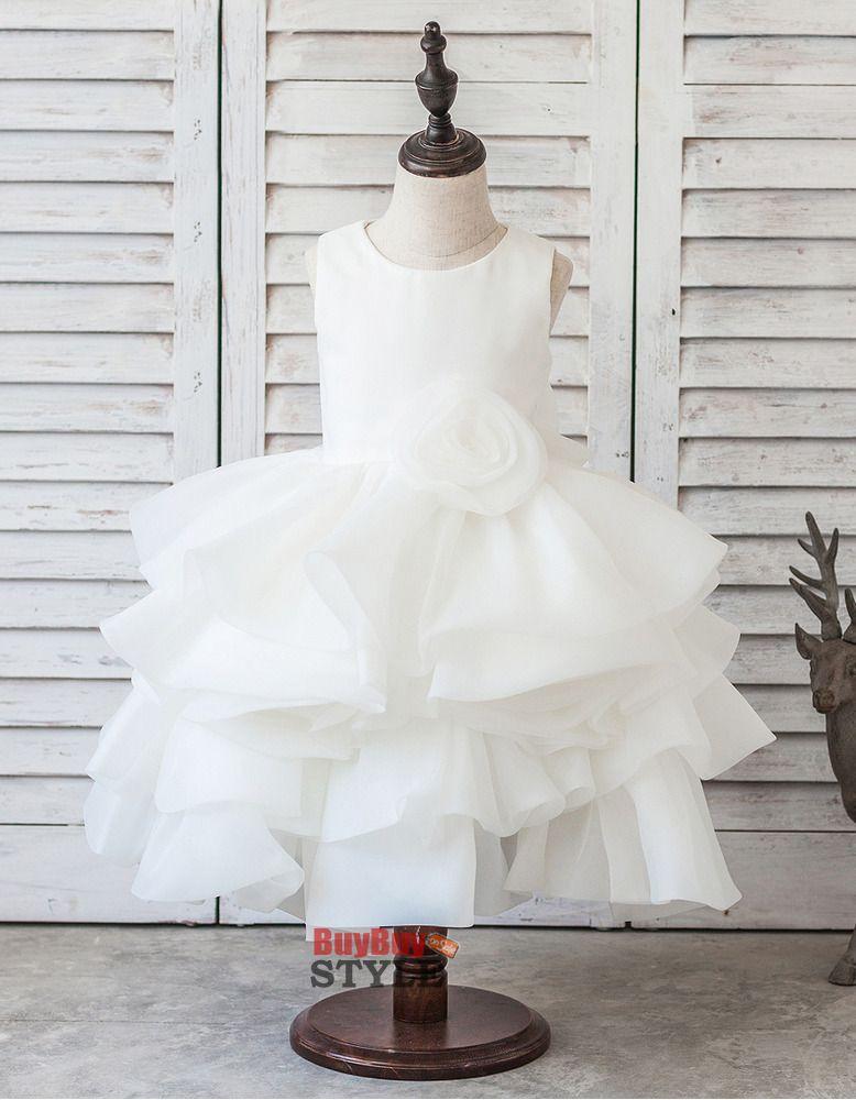 9ec2ed77b4 Cute Beautiful Tea Length Satin Organza Layered Bubble Skirt Flower Girl  Dresses with Handmade Flowers