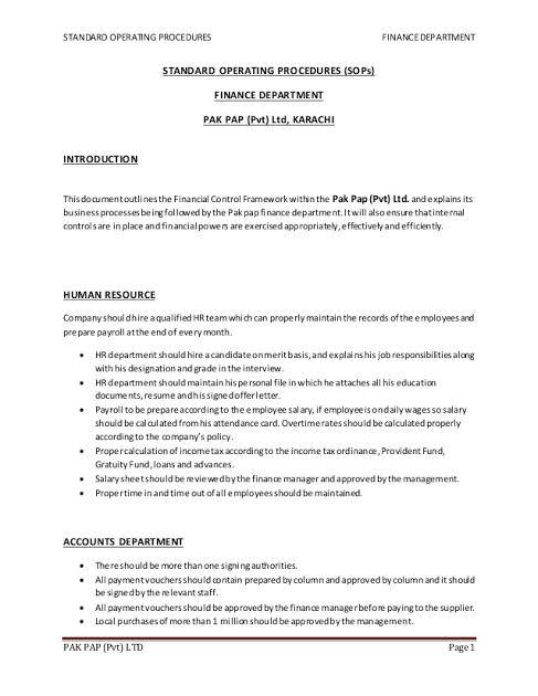 Sop Format For Accounts Department Google Search Standard Operating Procedure Finance Business Etiquette