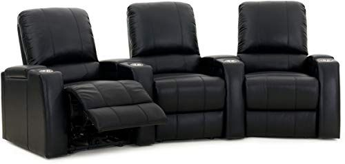 New Storm XL850 Home Theater Seating – Octane – Storage Arms – Memory Foam – Black Leather – Manual Recline – Curved Row 3 Chairs online shopping