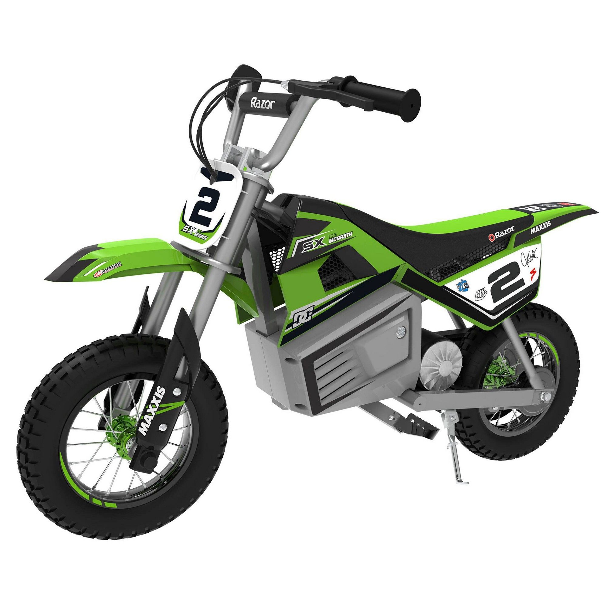 Razor Sx350 Dirt Rocket Mcgrath Electric Motocross Green Electric Dirt Bike Electric Bike Cool Dirt Bikes