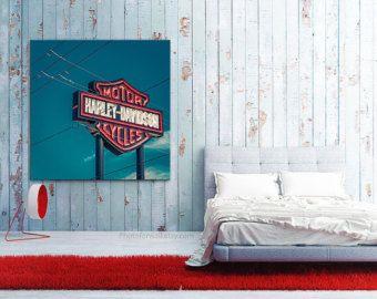 Harley Davidson Sign Canvas Arizona Travel /Office Decor/California/large  Art/kidu0027s