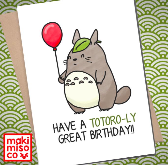 Totoro Birthday Card Love Birthday Boyfriend Girlfriend Print