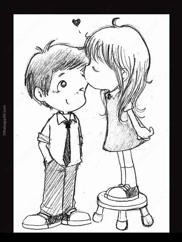 Картинки девушка целует парня в щеку рисованные