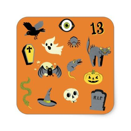 Orange Creepy cute Halloween stickers - Halloween happyhalloween - cute halloween gift ideas