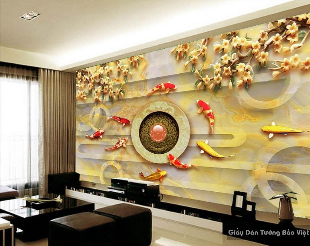 Tranh giấy dán tường hoa 3D FL003 | Tranh dán tường Bảo Việt | Wall ...