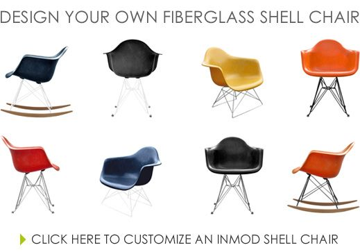 Superior Design Your Own Eames Inspired Chair: Inmod Molded Fiberglass Wire Base  Chair.